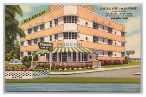 Image Is Loading Miami Beach Fl Postcard Churchill Hotel Amp Apartments