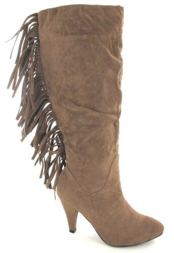 Mesdames Knee hight veau Fashion Fringe Faible Talon Haut Femme Équitation Bottes d/'hiver