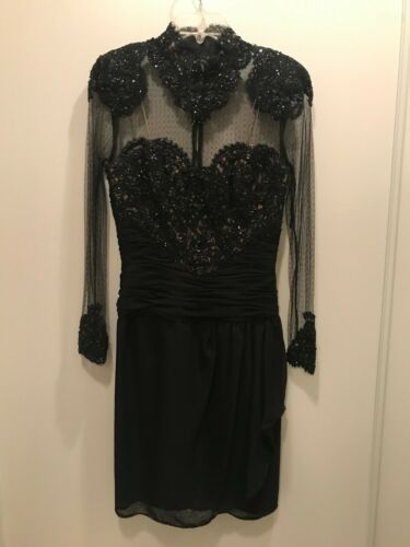 Vintage RUBEN PANIS Couture Black Silk Sequined Il