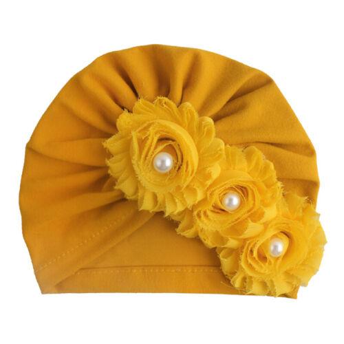Newborn Kids Cotton 3Flowers Pearls Hat Winter Beanie Turban Cap Solid Color New