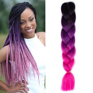Image Is Loading 1pcs Black Purple Pink 24 034 Synthetic Braiding