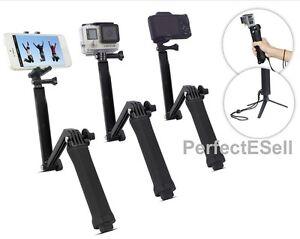 3 way extendable waterproof monopod selfie stick tripod for gopro camera iphone ebay. Black Bedroom Furniture Sets. Home Design Ideas