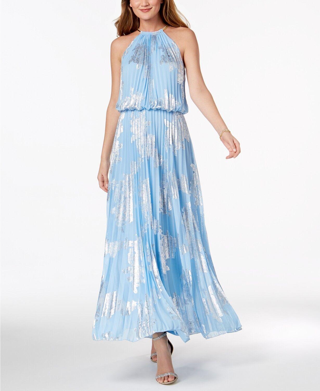 MSK Metallic-Print Pleated Blouson Gown Size 10  F312