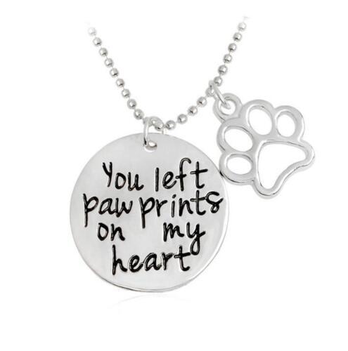 Fashion Pet Lover Dog Cat Paw Print Pendant Love Heart Necklace