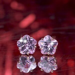 18k-rose-gold-gp-925-silver-made-with-Swarovski-crystal-earrings-pink-flower-5mm