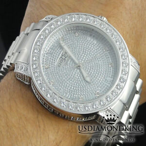 Details about MEN S NEW WHITE GOLD TONE FULL STAINLESS STEEL GENUINE DIAMOND  WRIST WATCH ICY ce78b9157