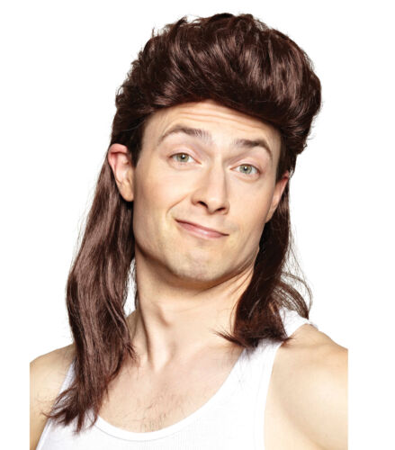 Nightclub Brown Mullet 80s Hillbilly Redneck White Trash Bogan Mens Costume Wig