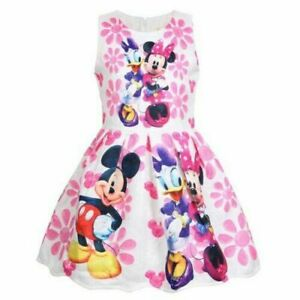 Girls-Baby-Kids-Minnie-Mouse-Print-Cosplay-Party-Dress-Outfit