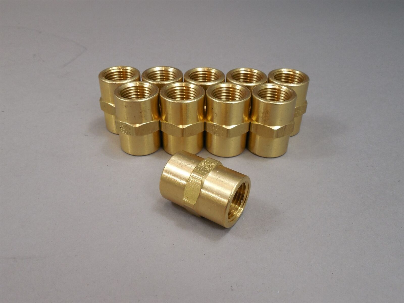 Lot of 10 Eaton Brass Hex Coupling 1 2  Union