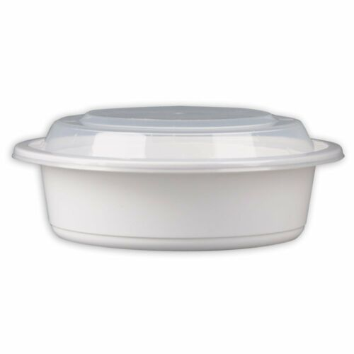 SafePro 16 oz 50 White Round Microwavable Container with Lid,