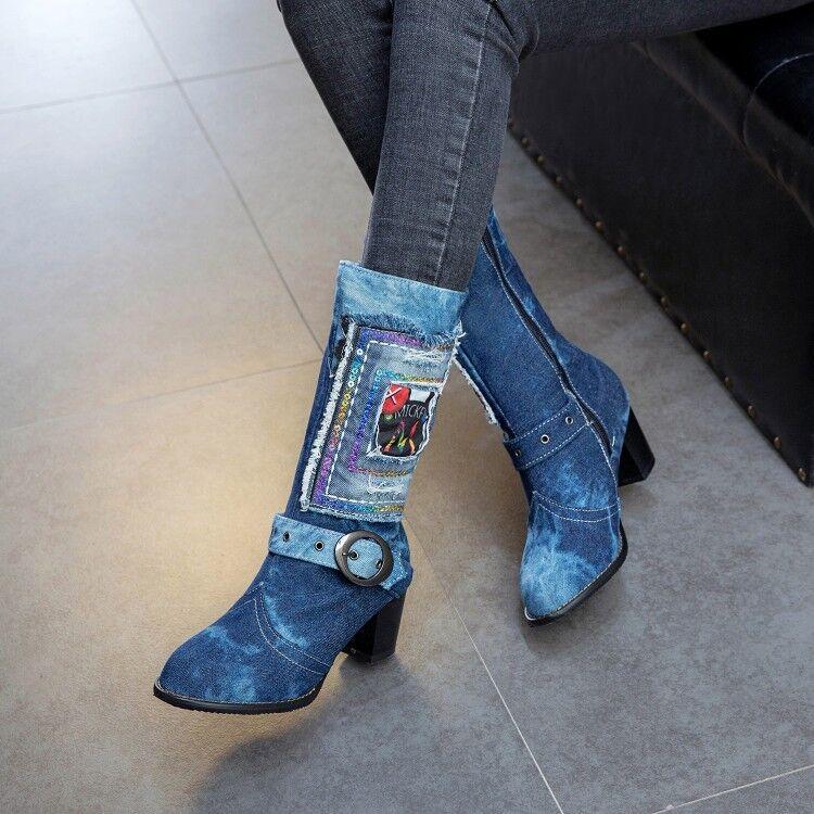 Womens Mid-Calf Boots Denim Jeans Middle Block Heels Multi-coloured Zipper Shoes