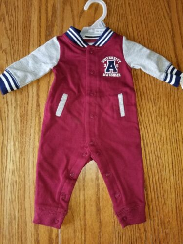 NWT Carter/'s One Piece University Awesome Maroon NB 3M Long Sleeve Button