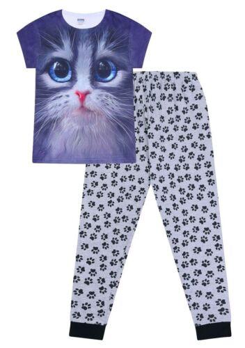 Cat 3D Yeux Bleus Long Pyjama Paw Print PJ 9-16 ans