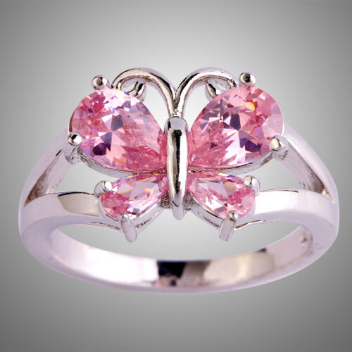 Gracieux PEAR CUT papillon rose TOPAZ GEMSTONES Silver Ring Taille 6 7 8 9 10 11