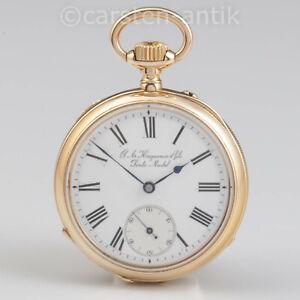Hochfeines-Ankerchronometer-G-A-Huguenin-amp-Fils-Schweizer-Jura-1885-18k-Gold