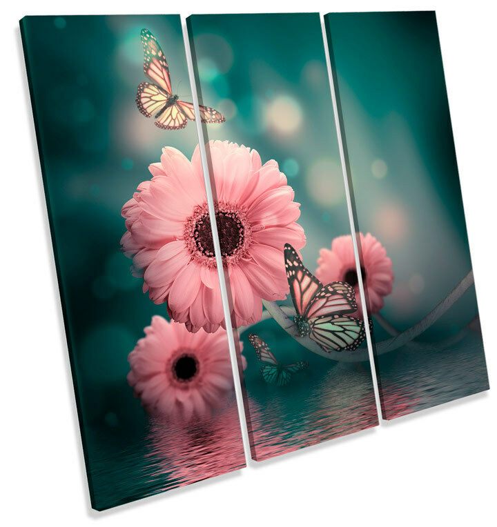 Gerbera Floral Flor Mariposa TREBLE LONA pa rojo  arte arte arte Foto impresión Cuadrado 222e03