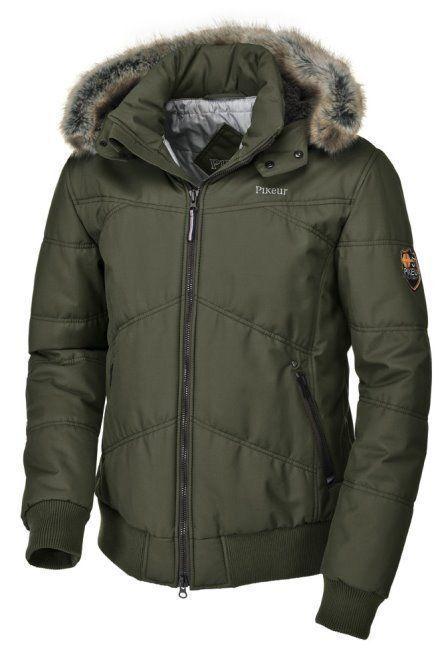 Pikeur lino caballeros-cazadora Olive invierno chaqueta impermeable capucha de quita y pon