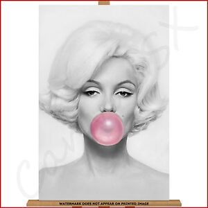 Marilyn Monroe Canvas Pink Bubblegum Large Framed Box Print Picture