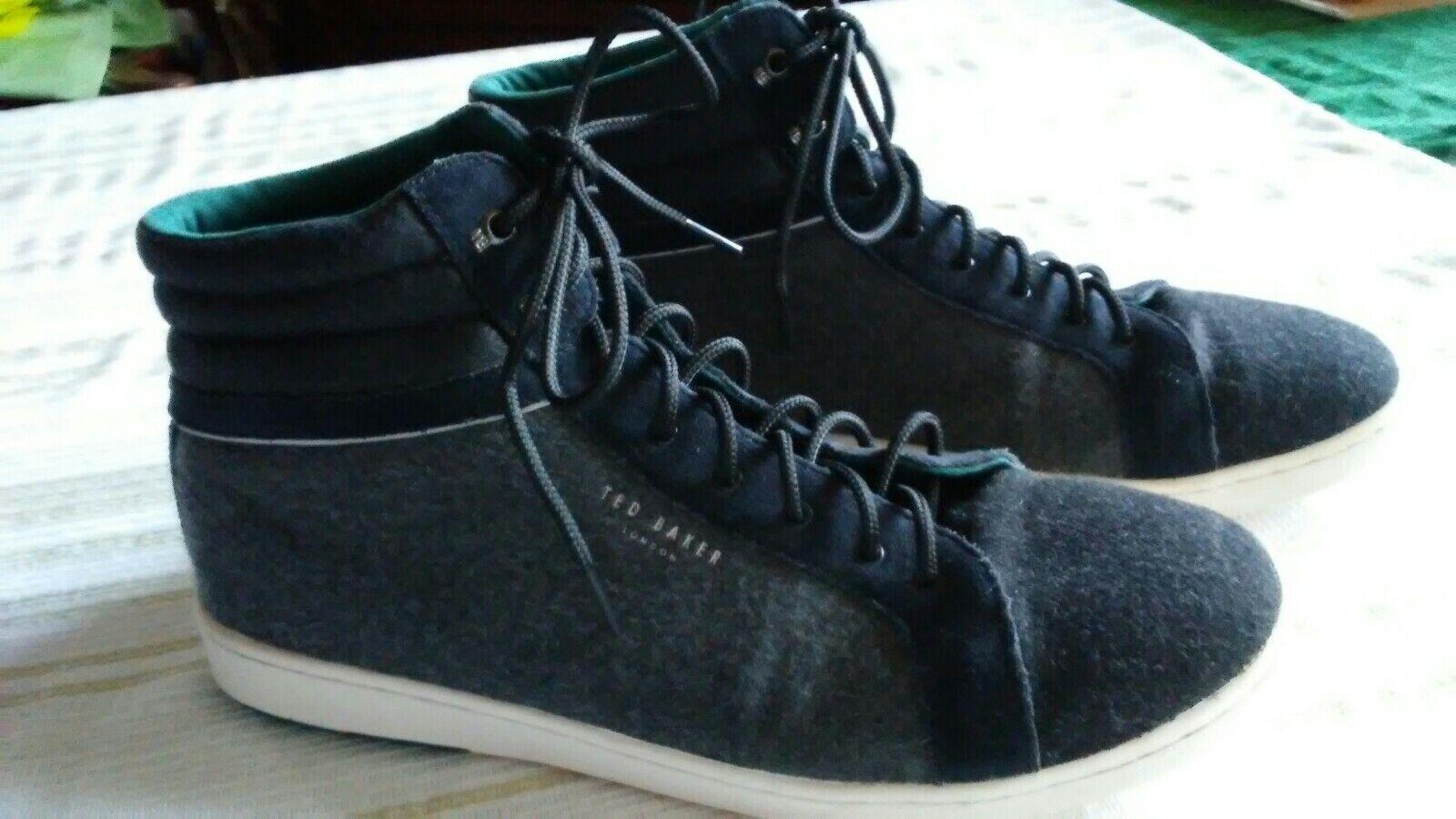 Ted Baker Tyroen High-Top Wool & Suede Sneakers Grey & Black EUC size11.5