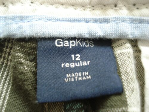 LANDS/' END Boys Solid Gray Khaki Chino PLAID CHECK Blue Green Beige SHORTS 10 12
