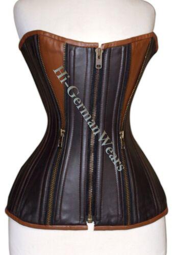 Heavy duty double STEEL Boned FULL Bust waist training Leather Zip CORSET hi-88