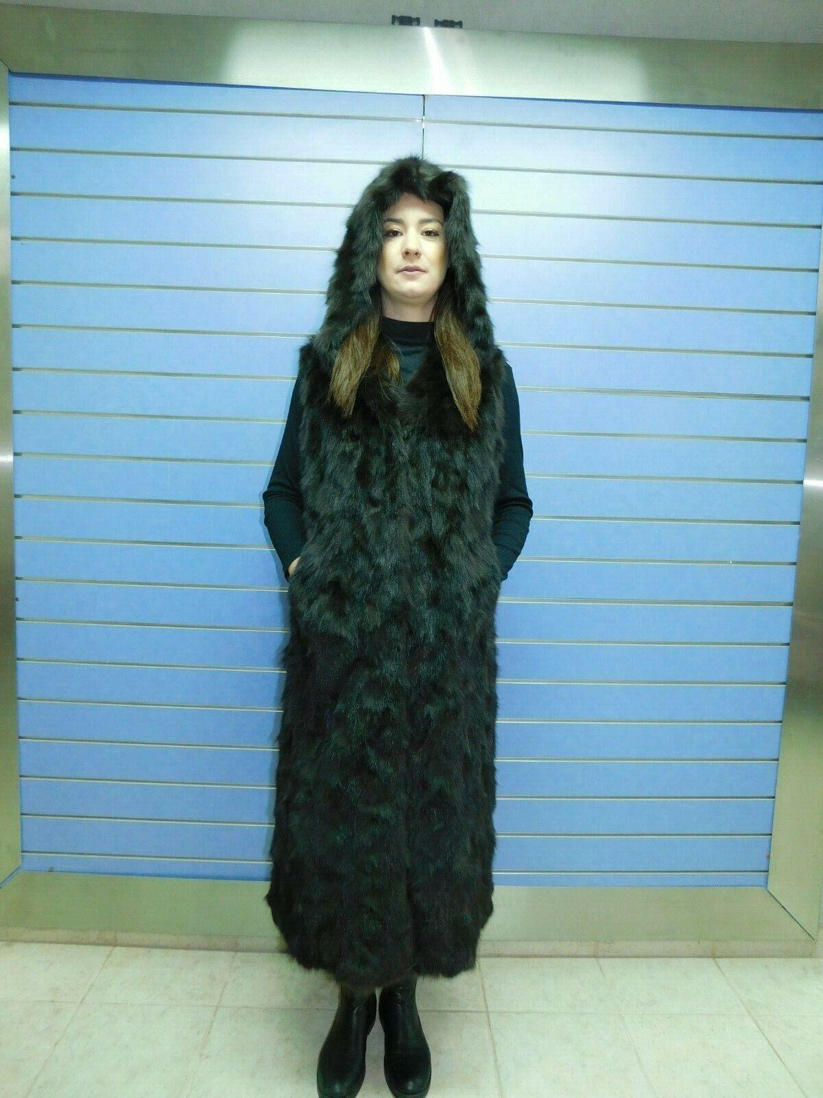 Natural Genuine Sabel Fur Vest Long With Hood- Fur Vest With Hood Russian Sabel