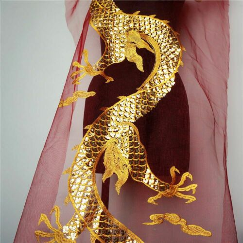Gold Sequins Chinese Dragon Red Mesh Embroidered Wedding Gown DIY Appliques