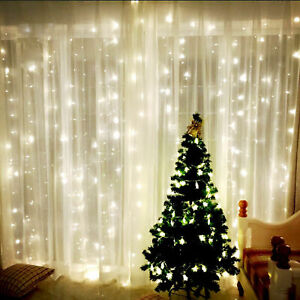 100-LED-10m-Fairy-Curtain-Net-Light-Xmas-Party-Wedding-Decor-Outdoor-Warm-White