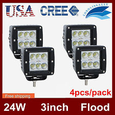 4pcs 24W 3inch CREE Cube Pods LED Work Light Driving Offroad 6000K Flood Beam US