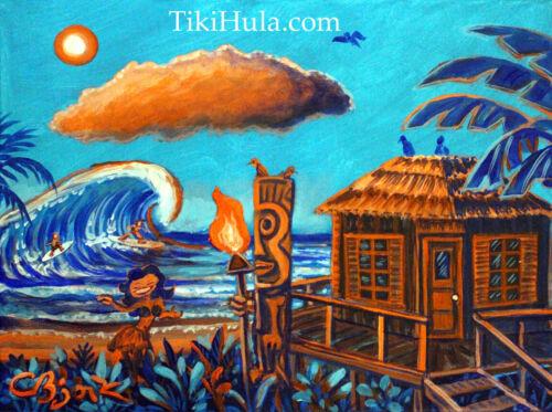 Beach Hut Surf Spot Blue Hula Tiki Surfing Hawaiian Painting CBjork Art PRINT