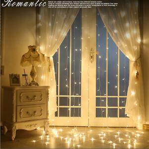 UK-300-LED-3M-Warm-White-LED-Light-Curtain-String-Strip-Fairy-Lights-Xmas-Decor
