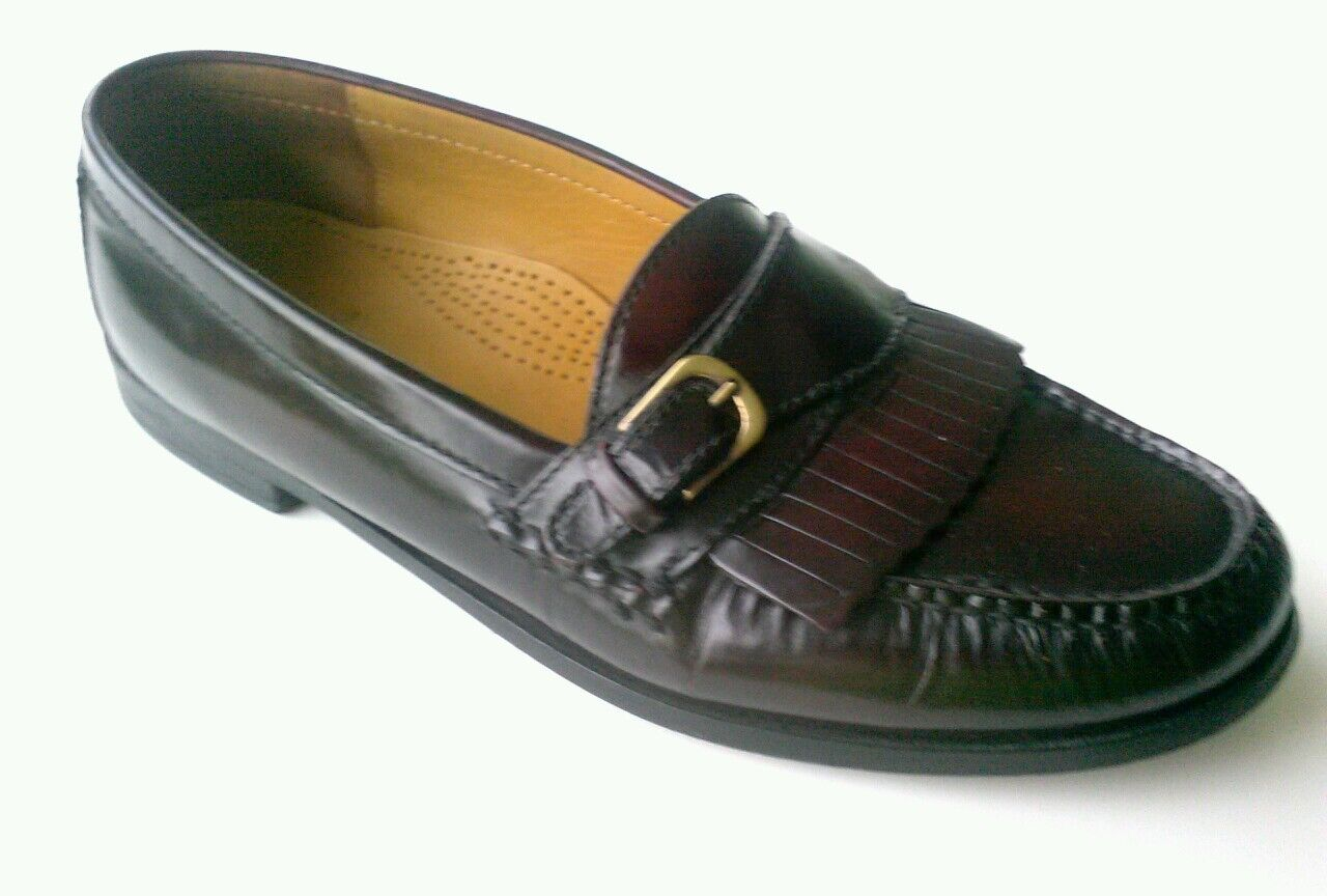 Cole Haan Mens Monk Strap Kilted Burgundy Leather Loafers shoes sz. 10D