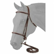 Tough 1 Full EquiRoyal Leather Browband Caveson Havana Snaffle Bridle Brown