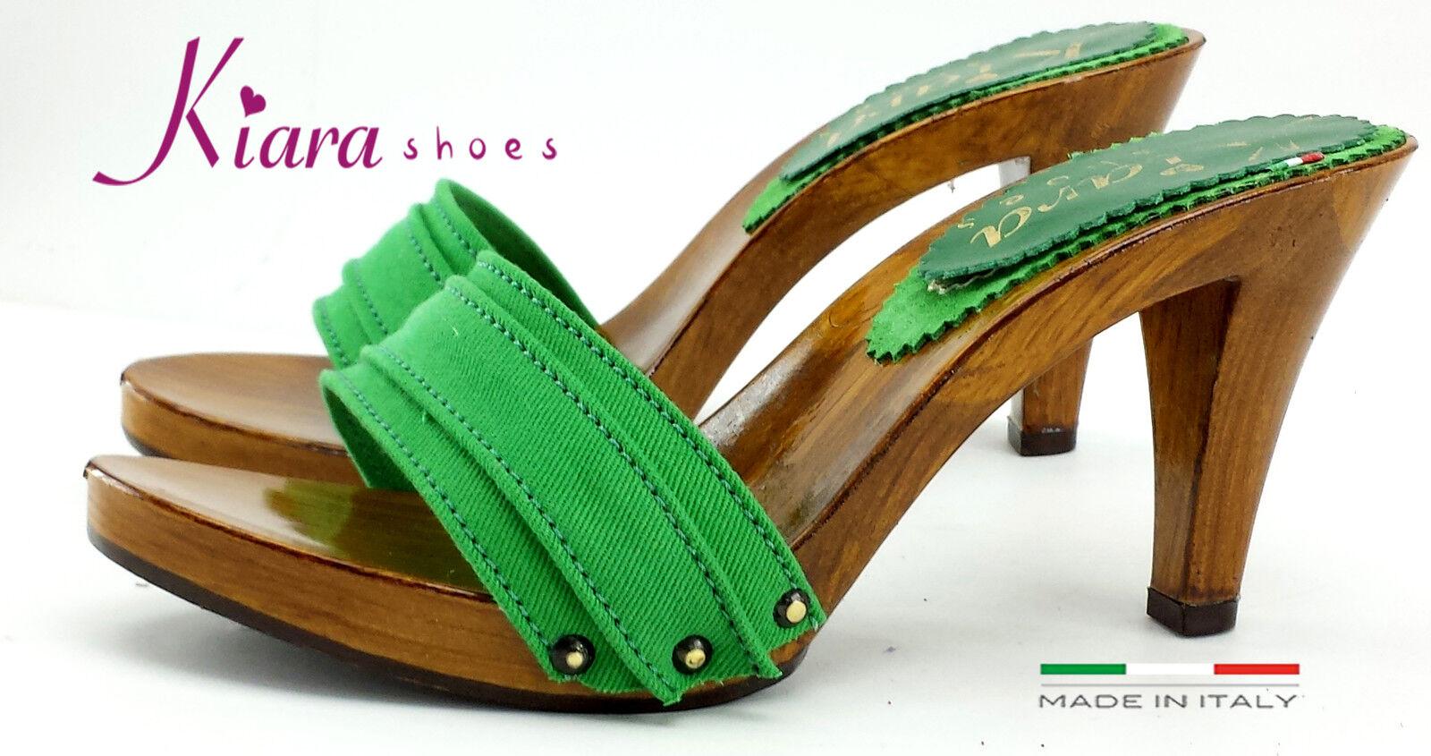 Zuecos Verdi- Made in  35-al 35-al 35-al 42 - Talón 9 cm K6101 verde  tiempo libre
