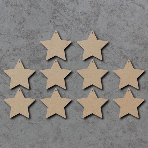Star coins arrondis x10-en Bois Noël Découpe Laser MDF Craft Formes 1 Trous