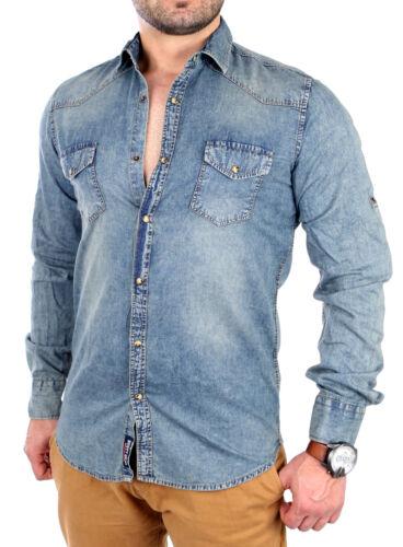 Rusty Neal camicia jeans uomo Vintage Tempo Libero Camicia Manica Lunga rn-4503 Blu Nuovo