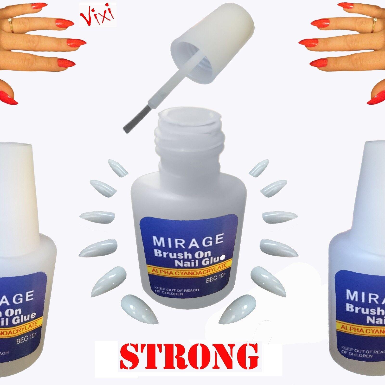 5x10g NAIL Art GLUE Brush STRONG Adhesive Acrylic False Tips ...
