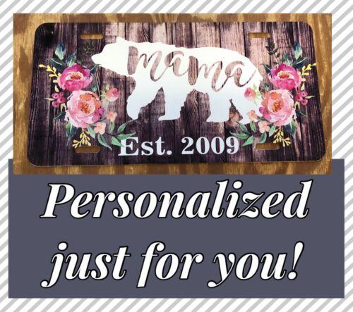 Mama Bear Personalized Mama License Plate Mama Bear Flower Rustic Wood Car Tag