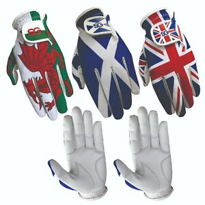 Pack-of-5-Men-golf-gloves-Cabretta-leather-palm-Wales-Scotland-Union-Jack-Flag
