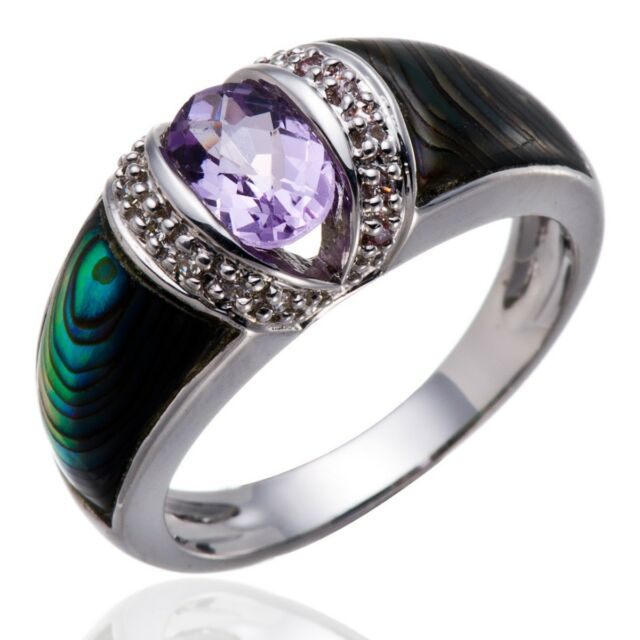 Amethyst, Abalone shell and White Topaz Gemstone Solid Sterling Silver 925 Ring