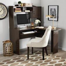Corner Computer Desk Hutch L Shaped Home Office Espresso Student Workstation