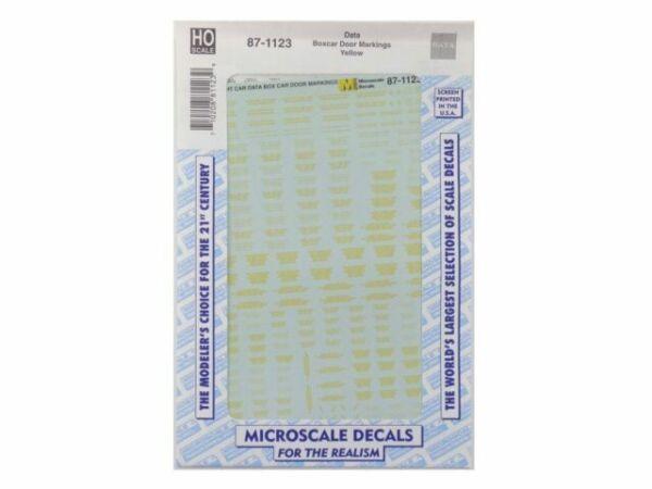 Microscale Decal HO  #87-1123  Box Car Door Markings Yellow