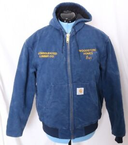 Carhartt-JQ1002-Union-Woodstone-Homes-Lumber-Quilt-Lined-Work-Jacket-Coat-Mens-L
