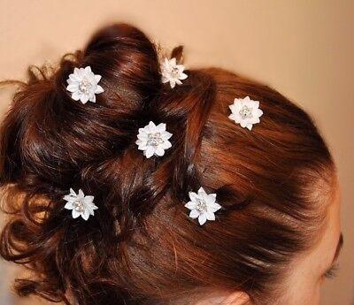 Avere Una Mente Inquisitrice Neu 6 Curlies Haarnadeln Braut Blume Strass Weiß, Ivory Sapore Puro E Delicato