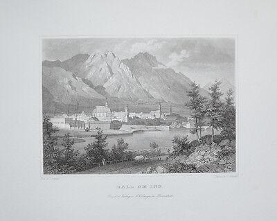 1842 Hall In Tirol Tyrol Inn Inntal Österreich Austria Stahlstich Ansicht Lange