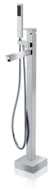 Floor Mounted Chrome Faucet Free standing Tub Filler with Handheld Shower Wand