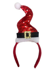 Womens Wavy Santa Hat Of Red Sequins With Gold Sequins Belt Buckle On Headband