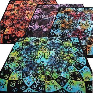Tagesdecke-Lotus-Ganesh-Batik-Dekotuch-Baumwolle-Indien-Goa-Hippie-Wandbehang