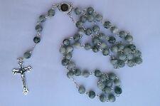 Beautiful Grey Glass Beads Rosary Catholic Necklace Holy Soil Medal Crucifix