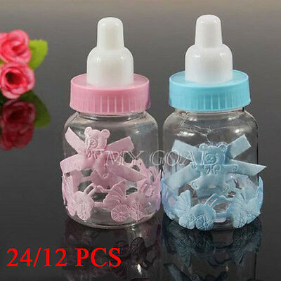 UK 12/24X Candy Bottle Fillable Box Baby Shower Baptism Party Favour Christening